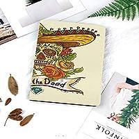 iPad 2/3/4 対応 2つ折りケース スタンド機能 オートスリープ超薄型 傷つけ防止ケース 手帳型カバー 環境にやさしい材質ソンブレロの伝統的なメキシコ文化のテーマの頭蓋骨装飾的な死者の日バラ