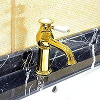 どのように-浴室水栓 アールデコ調/レトロ風 組み合わせ式 セラミックバルブ 一つ シングルハンドルつの穴 Ti-PVD, バスルームのシンクの蛇口,アメリカとカナダ