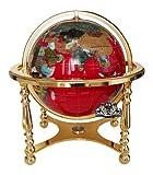 おもちゃ Unique Art 21-Inch Tall Red Lapis Ocean Table Top Gemstone World Globe with 4 Leg Gold Stand [並行輸入品]