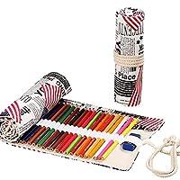 キャンバス 鉛筆 ケース ラップ ロールアップ カラーペンホルダー 36スロット アート鉛筆オーガナイザー ポーチ 旅行 ドローイング 鉛筆 収納バッグ アーティスト 子供 大人 塗り絵 (1個/パック)