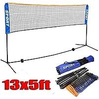 Yaheetechバドミントン/バレーボール/テニスポータブルNet Stand for Familyスポーツアウトドアゲーム13ft X 5 Ft (L & W)