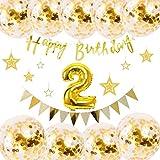 誕生日 飾り付け 1 バルーン HAPPY BIRTHDAY 装飾 風船 セット コンフェッティ バルーン パーティー 誕生日 記念日 風船(ゴールド) J042B