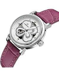 SweetBless腕時計 花模様 レディース 機械式 自動巻き 可愛らしい ピンク アナログ表示 パープル