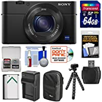Sony Cyber - shot DSC - rx100IV 4K Wi - Fiデジタルカメラ64GBカード+バッテリー&充電器+ケース+ Flex三脚+キット