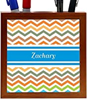 Rikki Knight Zachary Blue Chevron Name Design 5-Inch Wooden Tile Pen Holder (RK-PH6098) [並行輸入品]