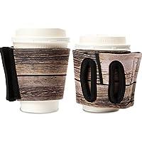 """Objectiboo!(オブジェクティブー)通せるカップスリーブ """"STAMP"""" 木目柄(保温性・断熱性のある取手付きコーヒースリーブ・コンビニコーヒーカップなどに対応・アイスコーヒーにも使用可)"""