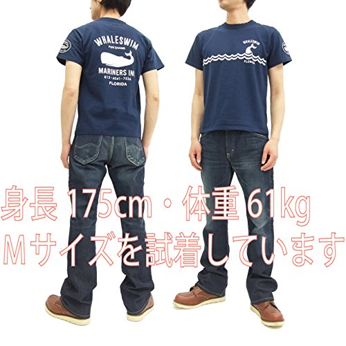 (フェローズ) Pherrow's Tシャツ 17S-PT14 クジラ柄 Pherrows メンズ 半袖tee ネイビー (M)