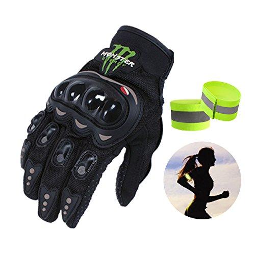 モンスターエナジー monster energy バイクグローブ 春秋用 サイクルグローブ プロテクター手袋 フルフィンガー サイズL (ブラック)