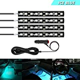 LEDテープライト アイスブルー色4本 防水防滴仕様 高輝度 両面テープで好きな場所に貼り付け 車内装飾用LEDライト 12V車用