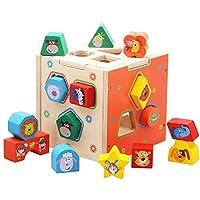 Zxcvlina 男の子と女の子用 ランロジックゲーム おもちゃ 幼稚園 教育 マンガ 認知 幾何学模様 マッチングブロック 15穴 知能ボックス 1~3歳 赤ちゃんのスキルの発達に役立つ