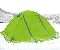 テント 2人用 4シーズンに適用 軽量 アウトドア キャンプ用品 テント 二層アルミポール 防水 通気性 防雨 防風 防災 アウトドア/ビーチ/登山/遠足/ピクニック/災害時など (グリーン)