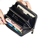 長財布 レディース 最高級本革 スマホが入る大容量財布 抜群の機能性と収納力 男女兼用 小銭入れ一体型メンズ 財布 Luuhann (ブラック1)