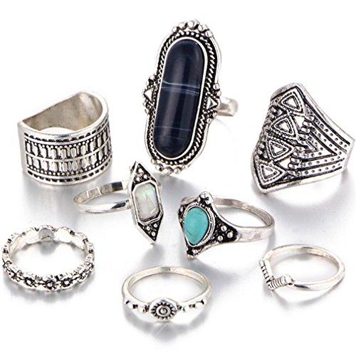 [해외]BEE &  BLUE 반지 복고풍 민속 풍의 아름다운 여성 터키석 반지 비 네이션 세트/BEE &  BLUE ring Retro folk style nice ladies turquoise ring vination set