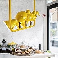 Hines シンプルな3つのヘッドアイアンバーディー奇妙な形状ユニバーサルヘッド調節可能なシャンデリアクリエイティブレストランバー服店の装飾ペンダントランプ省エネLEDチップシーリングライト ( Color : Yellow )