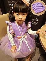 子供用 エプロン 防水加工 アームカバー付き 90-130cm 4色選択可能 (パープルソフィア 120cm)