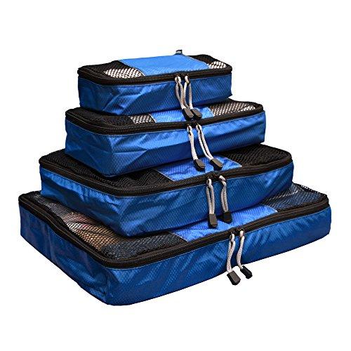 Collins(コリンズ) トラベルポーチ 4点セット 旅行 出張 スーツケース 整理整頓 インナーケース オーガナイザー ワイシャツ (ブルー)