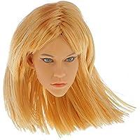 ノーブランド品 2個 1/6 12インチ ブロンド 女性 頭の彫り モデル フィギュア 小道具 ヘッドスカルプト 飾り