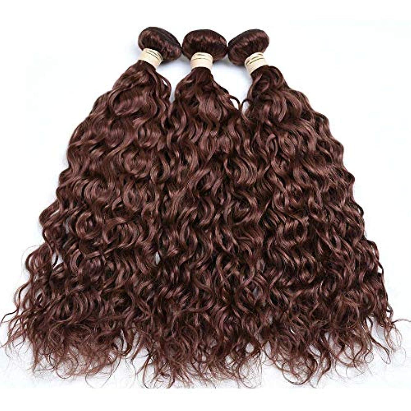 しない教育学均等にHOHYLLYA ブラジルの髪の束ブラジルの水の波100%未処理の本物の人間の髪の毛#33ブラウン色(8