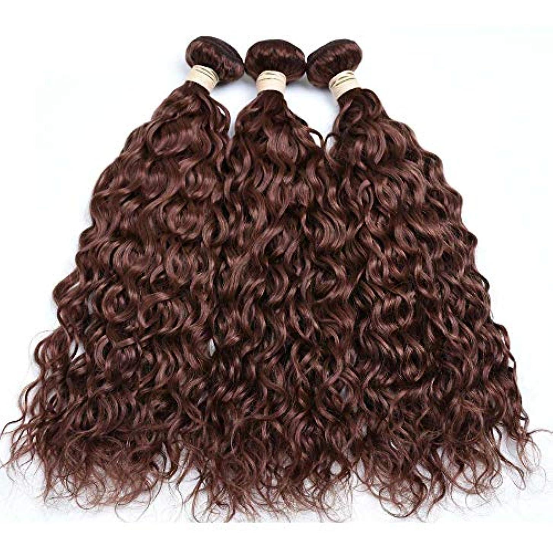 怒って影響を受けやすいです弁護人HOHYLLYA ブラジルの髪の束ブラジルの水の波100%未処理の本物の人間の髪の毛#33ブラウン色(8