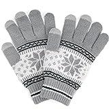(トレリア) Trelia スマホ 手袋 レディース タッチパネル ニット グローブ 雪柄 ノルディック柄 防寒 あったか #a111 (グレー)