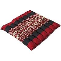 タイのゾウさん刺繍アジアンロール座布団 Mサイズ 赤×黒 レッド×ブラック W=34cm×L=34cm×H=5cm