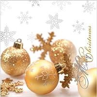"""Glitteringクリスマスペーパーカクテルナプキン40個10"""" x10"""" GoldenガラスボールMerry Christmas"""