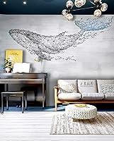 KAHSFA 3Dの壁紙 北欧の幾何学的な壁画抽象手描きのミニマリストクジラアート壁紙リビングルームのソファテレビの背景の壁紙の壁装材-150cmx100cm