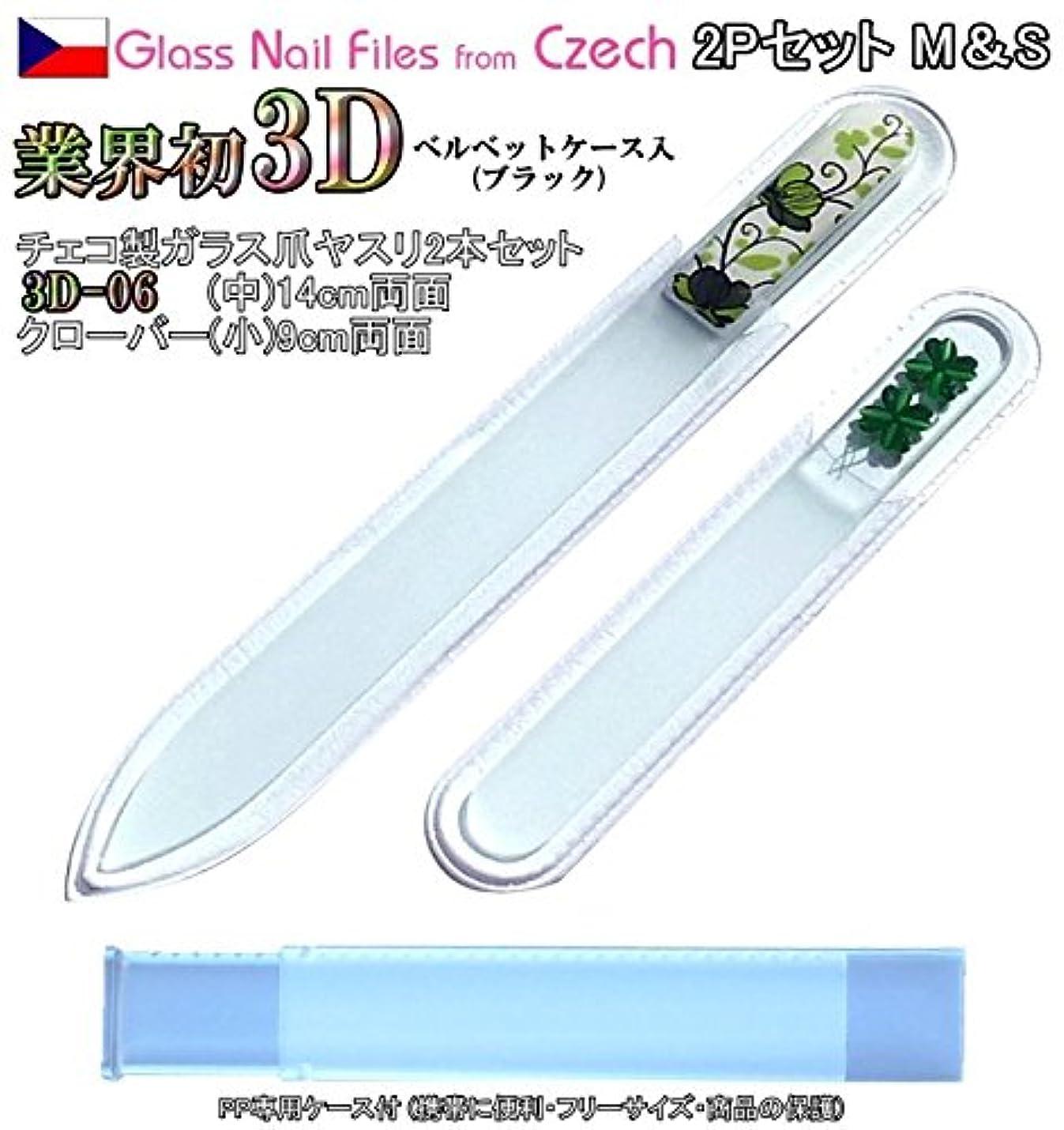 カップ誤って極小BISON 3D チェコ製ガラス爪ヤスリ 2Pセット M06&Sクローバー各両面仕上げ ?専用ケース付