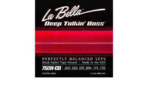 S La Bella 760N-S Deep Talkin/' Bass Black Nylon Tape Wound Bass Guitar Strings