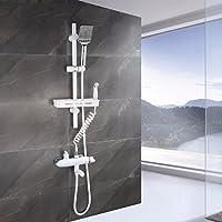 ヨーロッパ式の全銅のシャワーのレースのセットの3つの婦は洗って冷たい熱帯の昇降することができて下の出水シャワーのセットになることができます