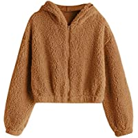 ZAFUL Women's Zip Up Faux Shearling Fluffy Oversized Hooded Teddy Jacket Coat