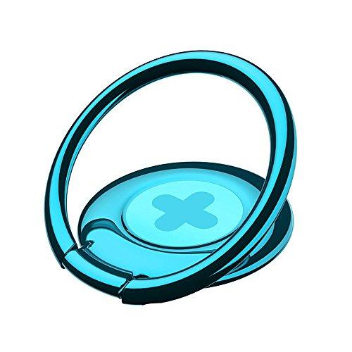 itDEAL スマホ リング 薄型 3mm極薄 落下防止 360度回転 貼り替え可能 マグネット車載ホルダー対応 (+(青))