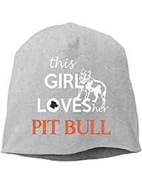 【Dera Princess】 男女兼用 ニット帽 This Girl Loves The PITBULLロゴ コットン ニットキャップ 帽子 オールシーズン 被れる