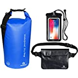 Waterproof Dry Bags Set of 3 by Freegrace - Dry Bag with 2 Zip Lock Seals & Detachable Shoulder Strap, Waist Pouch & Phone Case - Can Be Submerged Into Water for Swimming, Kayak, Rafting & Boating