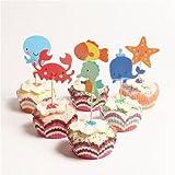 AuCatStore(TM) 24pcs Ocean Cupcake Toppers Whale Hippocampus Starfish Cake Picks Party Decor PL