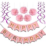 Birthday Party Decorations for Girls and Women Kids Birthday Party Pink Happy Birthday Banner with pom poms and Spiral Garlands 1st Girls Birthday Party Decorations [並行輸入品]