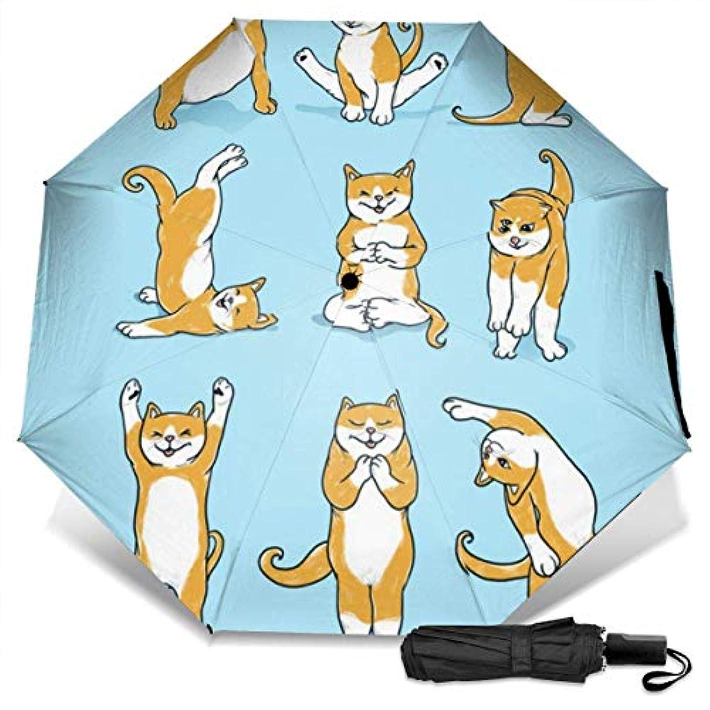 引退したモルヒネ害面白いヨガ猫折りたたみ傘 軽量 手動三つ折り傘 日傘 耐風撥水 晴雨兼用 遮光遮熱 紫外線対策 携帯用かさ 出張旅行通勤 女性と男性用 (黒ゴム)