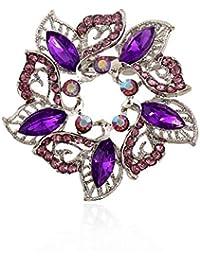 女性のためのSKZKKレトロフラワーブローチ中空ダイヤモンドラインストーンクリスタルブローチピンのための服紫