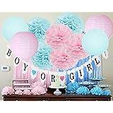 Gender Revealパーティー用品ベビーシャワーデコレーションバナーwith Pom Poms Tissue Paper Lanternsベビーブルーピンクの誕生日/ピンクとブルーデコレーション/Gender Reveal Decorations