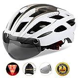 Shinmax自転車ヘルメット, LEDライト付きサイクルヘルメット 安全ライト付き自転車ヘルメット ゴーグル超軽量自転車ヘルメット アダルト自転車ヘルメット 取り外し可能なシールドサンバイザー付き (白)
