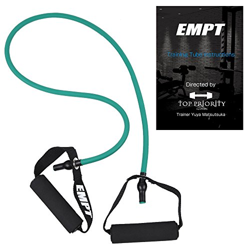 EMPT(イーエムピーティー) トレーニングガイドブック付 トレーニングチューブ フィットネスチューブ [筋トレ エクササイズ ダイエット] 冊子セット エクササイズバンド (グリーン(ノーマル)+ブック付)