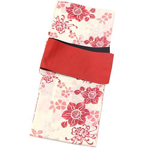 着物ひととき 浴衣 レディース セット ゆかた 帯 2点セット 浴衣 セット 女性 ゆかた 半幅帯 2赤鉄線