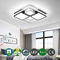 寝室LEDシーリングライトモダンなリビングルームの天井ランプリモコンで調光可能メタルアクリルランプシェードレストランの照明学習室ランプ創造的な装飾照明,L60cm*w60cm