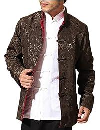 maweisong メンズロングスリーブボタン中国カエルスタイルのジャケットは、ダブルサイドウェア