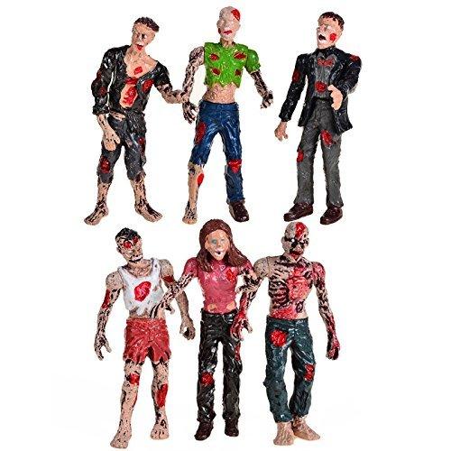 BOHSゾンビ人形アクションフィギュア玩具可動ジョイント - 6パック - 4インチ…