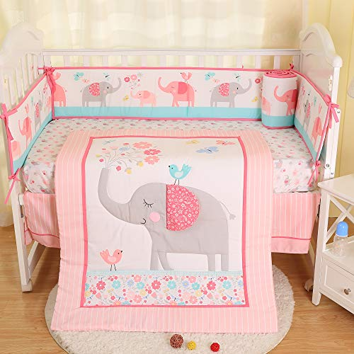 Brandream Butterfly Baby Bedding Girl Pink Floral Crib Bedding with Bumper Shabby Chic Nursery Bedding,Perfect Baby Shower Gift, Cotton, Pink Elephant, Baby Hammock 09-459