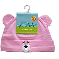 growbaby Infant Hat 新生児用(0~3カ月)帽子 ジャージー地綿100%,クマさん帽子 ピンク 23528