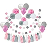 Ucity 35 pcs Baby Shower Decorations Pink Grey White Paper Pom Poms Flowers Tissue Tassel Polka Dot Paper Garland kit with 30cm Balloons for 1st Baby Girl Birthday Baby Shower Party Wedding Favours