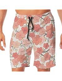 メンズ水着 ビーチショーツ ショートパンツ ピンク 花 水彩画 スイムショーツ サーフトランクス 速乾 水陸両用 調節可能