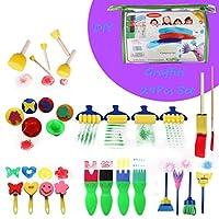 Livoty クリエイティブセット 子供用 早期学習 スポンジペインティング DIYグラフィットブラシセット アート教育玩具 29点 L ブルー